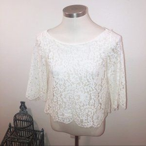 JOIE CREAM WHITE LACE 3/4 SLEEVE BLOUSE XS
